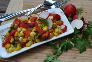 Sweet Corn, Roasted Pepper & Radish Succotash
