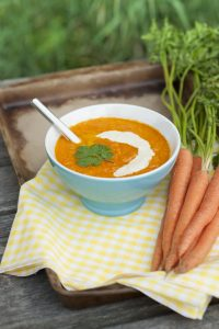 Carrot Ginger Soup with Lemon Tahini Drizzle