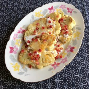 Roast Cauliflower Steaks with Honey Yogurt
