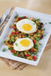 Potato Asparagus Hash with Sunny Side Up Eggs