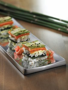 Smoked Salmon Sushi Squares with Wasabi Mayo
